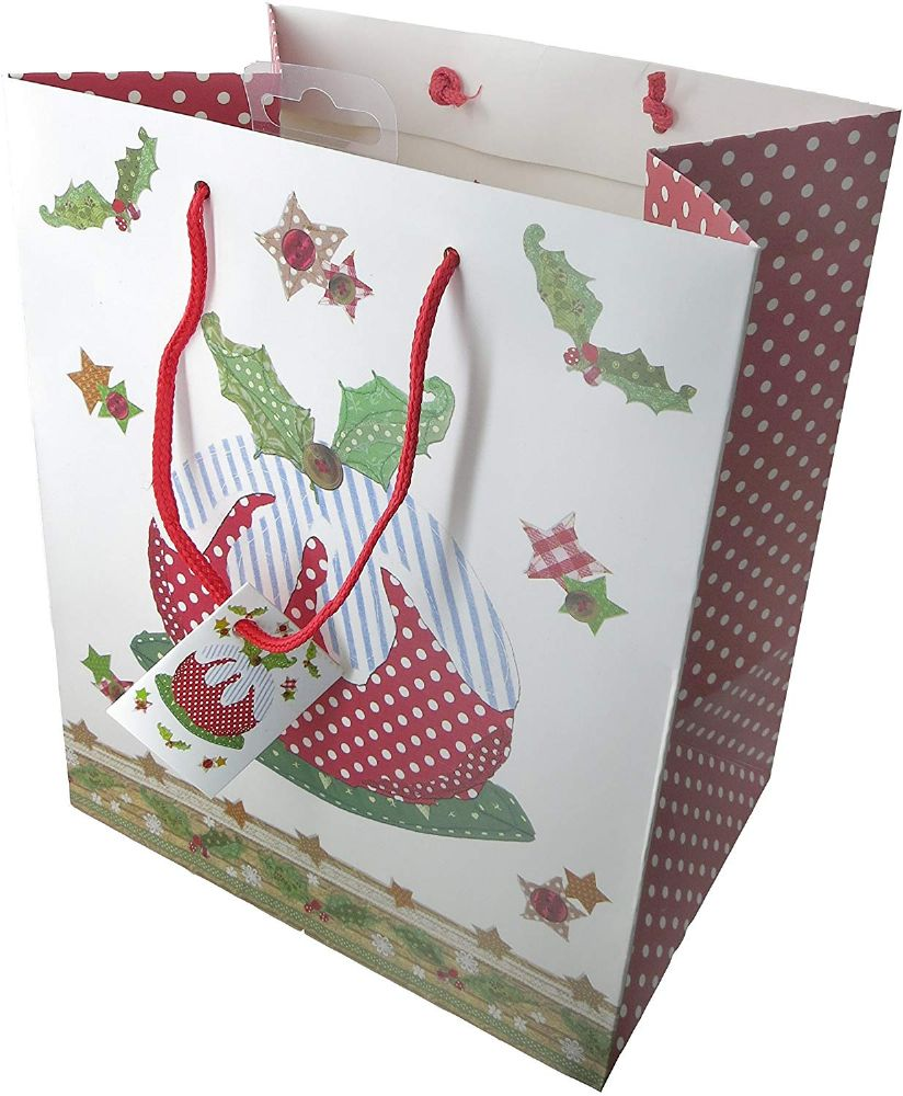 Large Luxury Christmas Gift Bag Christmas Pudding Design X4